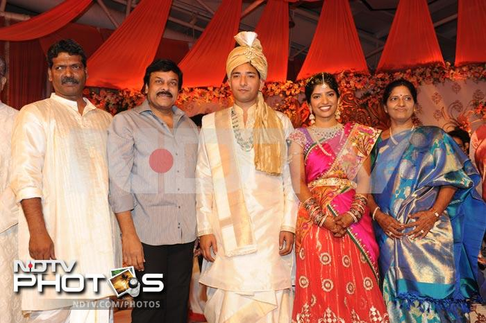 Chiranjeevi at the wedding of Shyam Prasad\'s daughter