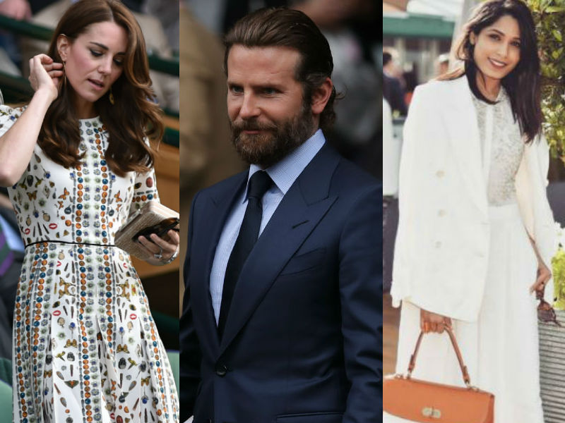 Kate Middleton, Bradley Cooper, Freida Pinto at the Wimbledon Finals