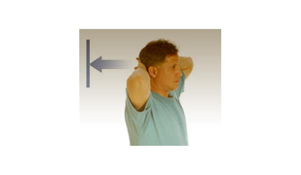 Press both hands against the back of your head. Try to pull your head up, but resist any motion.