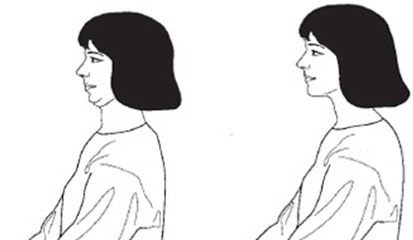 Move your neck forward and then rest your chin against your chest. Hold your neck in this position for at least five seconds. Move the neck as far back as possible, and hold for five seconds. Inhale when your head is upright and exhale when it is in the forward and back position.