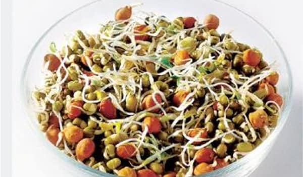 Eating raw sprouted pulses help gain vitamins and fiber. Moong, for instance, sprouts quickly and is beneficial for the health also.