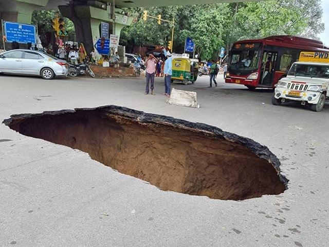 Photo : Huge Chunk Of Road Caves In Under IIT Delhi Flyover