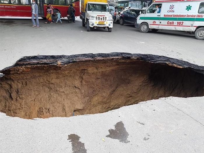 Huge Chunk Of Road Caves In Under IIT Delhi Flyover