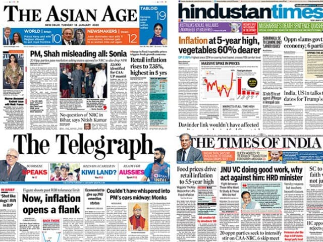 Photo : Inflation At 5-Year High; Opposition Meet On CAA-NRC And Other Big Stories