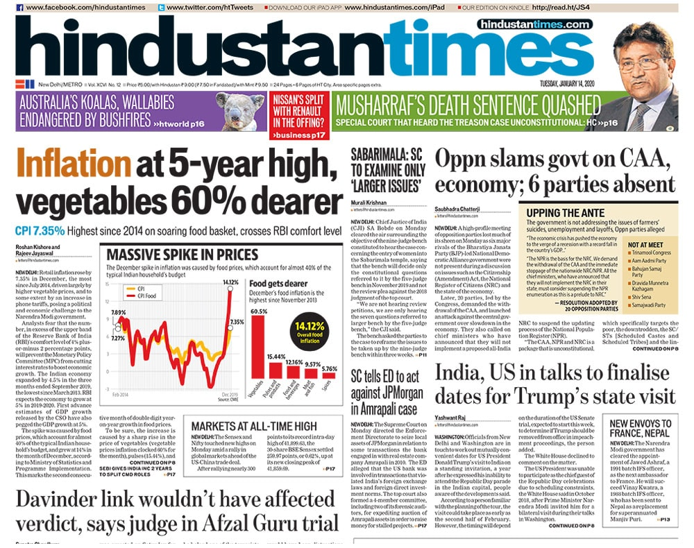 Inflation At 5-Year High; Opposition Meet On CAA-NRC And Other Big Stories