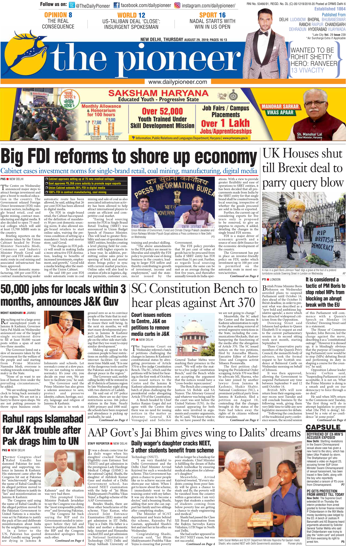 Newspaper Headlines: Centre Announces Big FDI Reforms To Shore Up Economy