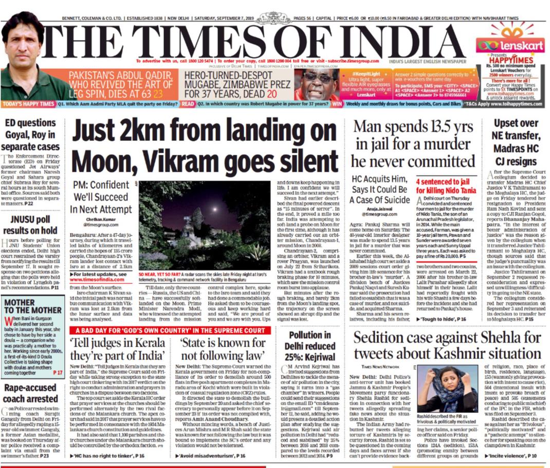 Newspaper Headlines: Chandrayaan-2 Lander Hits Snag During Historic Moon Landing Attempt