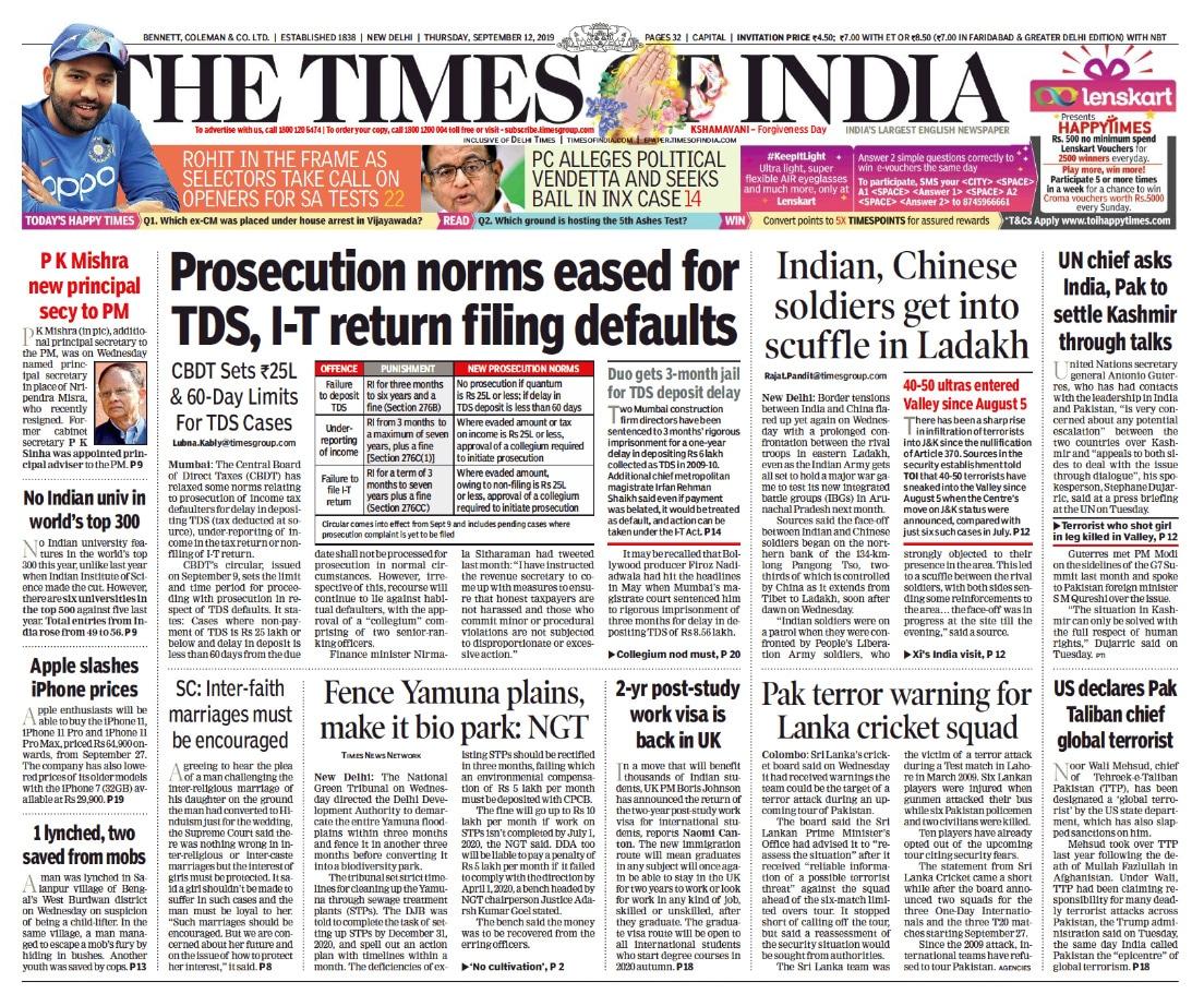 Newspaper Headlines: Nitin Gadkari On Traffic Fines, PM Modi On Cows, Chandrababu Naidu\'s House Arrest
