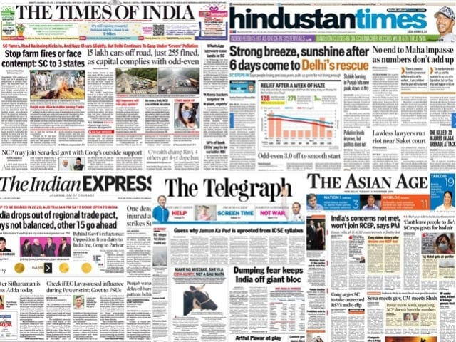 Photo : Newspaper Headlines: India Opts Out Of RCEP, Says Concerns Not Addressed