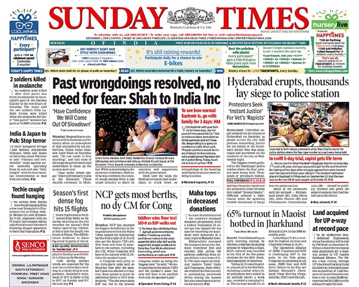 Newspaper Headlines: Hyderabad Protests Demanding Justice For Veterinary Doctor And Other Top Stories