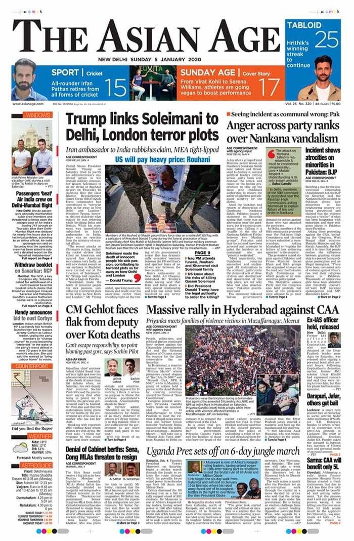Newspaper Headlines: Trump Invokes Delhi After Iran Commander Killed, Anger Across Parties Over Nankana Sahib Vandalism
