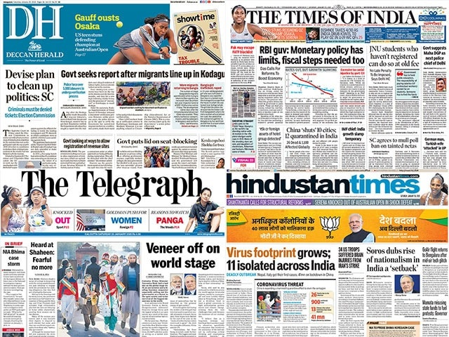 Photo : Newspaper Headlines: 11 People Under Watch In India Over Coronavirus Fears And Other Stories