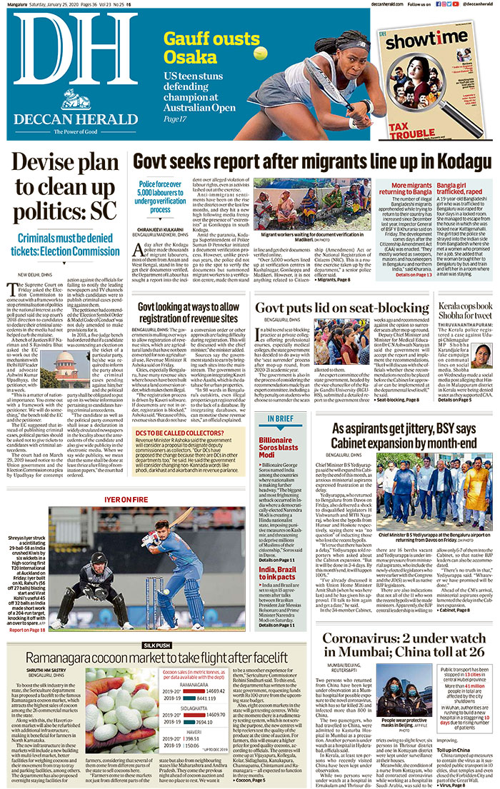 Newspaper Headlines: 11 People Under Watch In India Over Coronavirus Fears And Other Stories