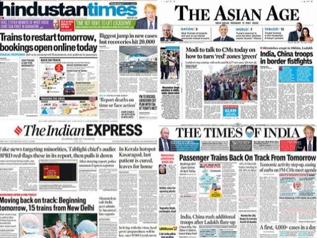 Photo : Newspaper Headlines: Passenger Trains To Resume From Tomorrow, Biggest Jump In Coronavirus Cases In India And Other Top Stories