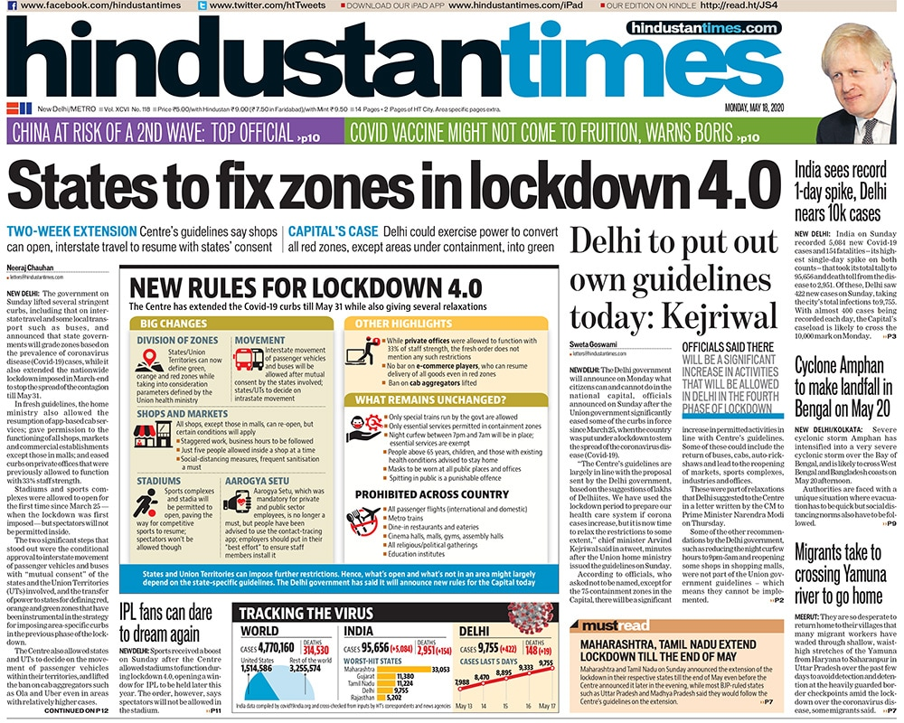Newspaper Headlines: Centre Extends Lockdown Till May 31 And Other Top Stories