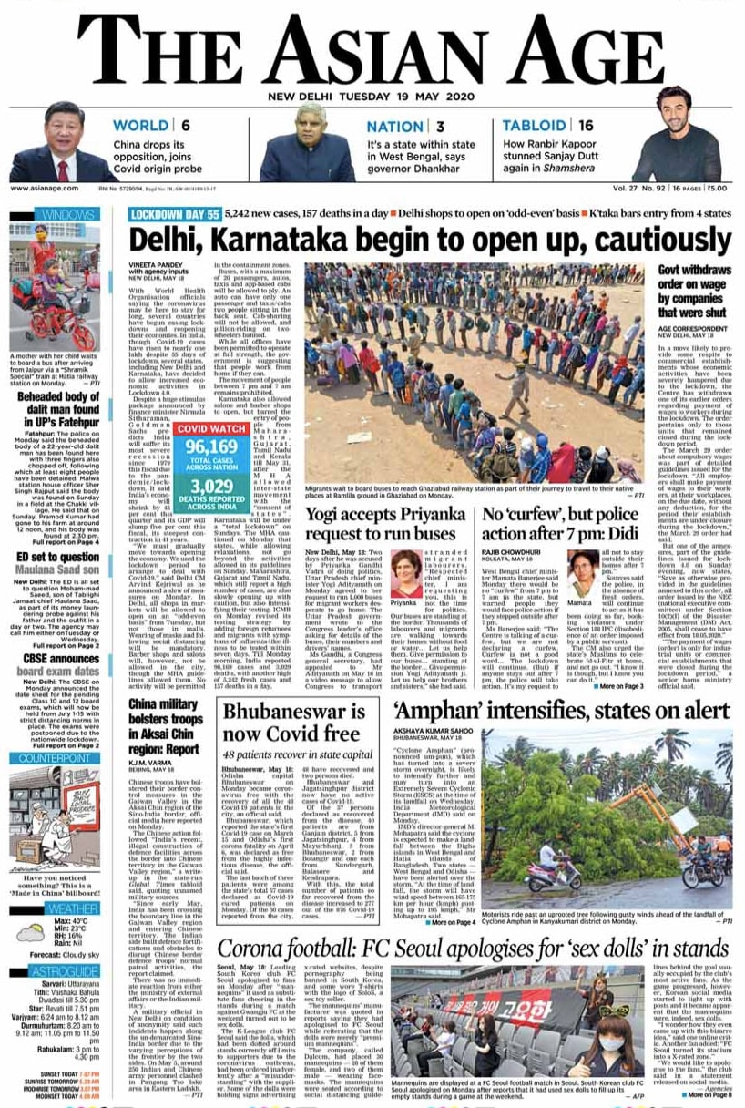 Newspaper Headlines: Coronavirus Cases In India Cross 1 Lakh, Over 3,000 Dead And Other Top Stories