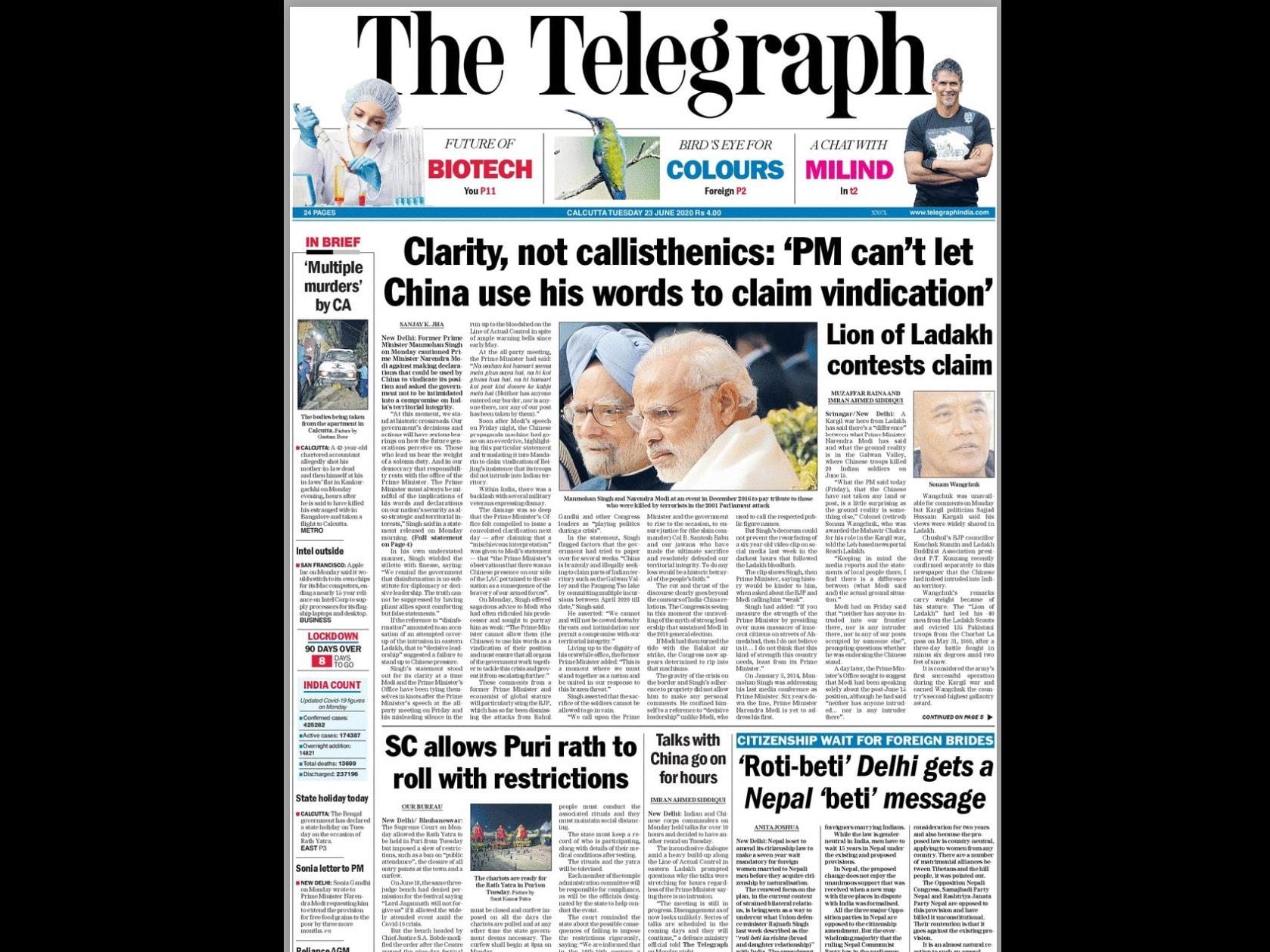 Newspaper Headlines: India-China Hold Talks After Border Clash, Coronavirus Global Cases Top 9 Million