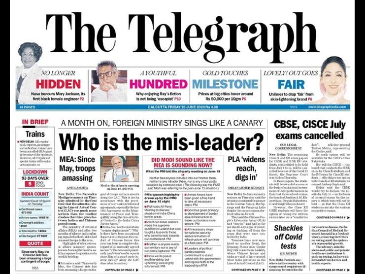 Newspaper Headlines: Over 5 Lakh Coronavirus Cases In India; Envoy Warns China Over Border Dispute