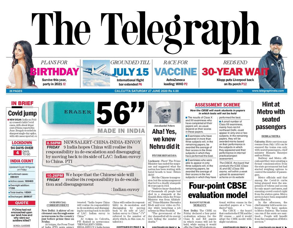 Newspaper Headlines: India Deploys Air Defence Systems In Eastern Ladakh & Other Top Stories