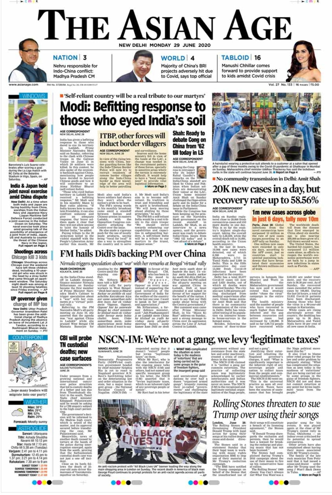 Newspaper Headlines: \'Those Who Eyed Indian Territory In Ladakh Received Befitting Reply\', Says PM Modi & Other Top Stories