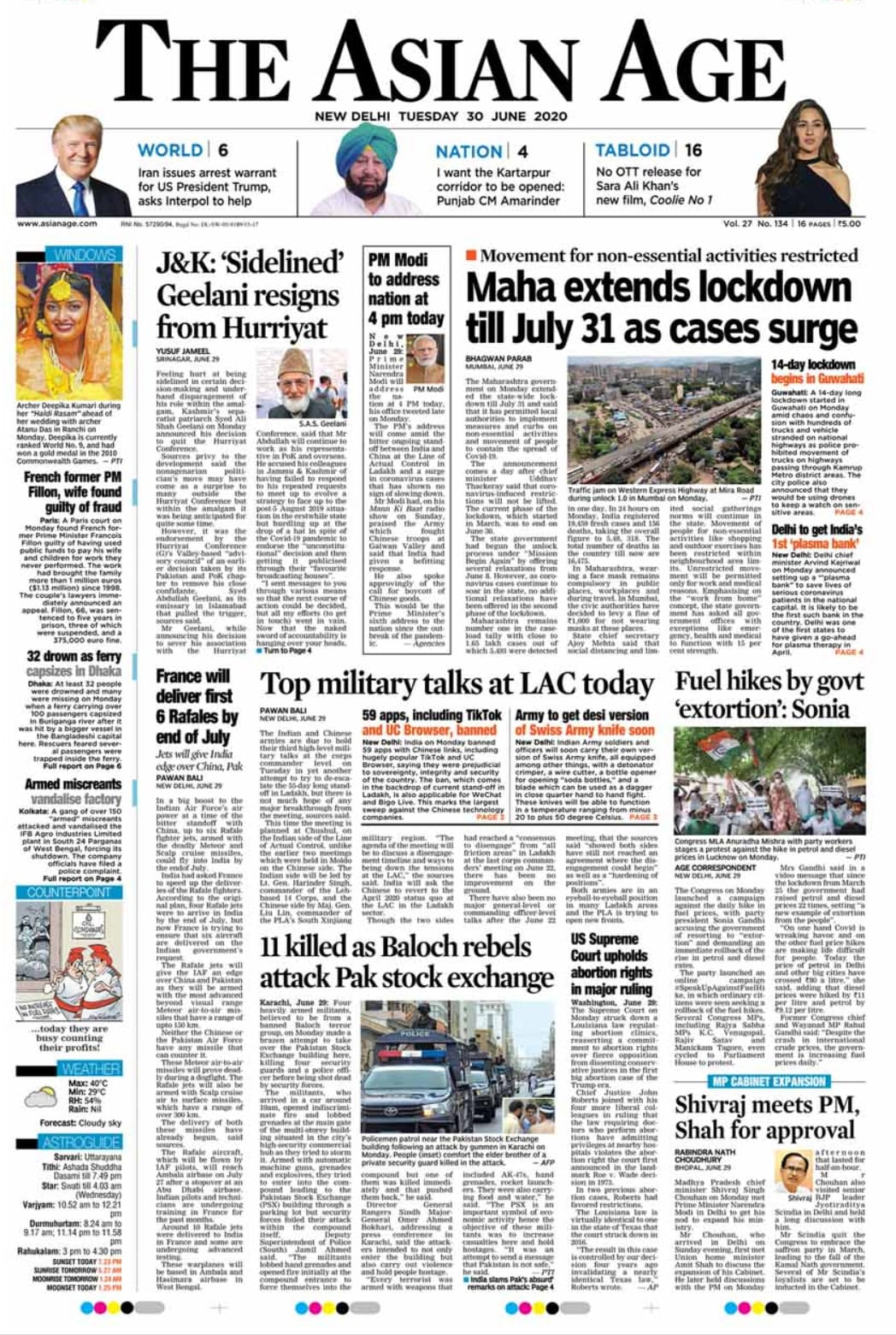 Newspaper Headlines: India Bans 59 Chinese Apps And Other Top Stories