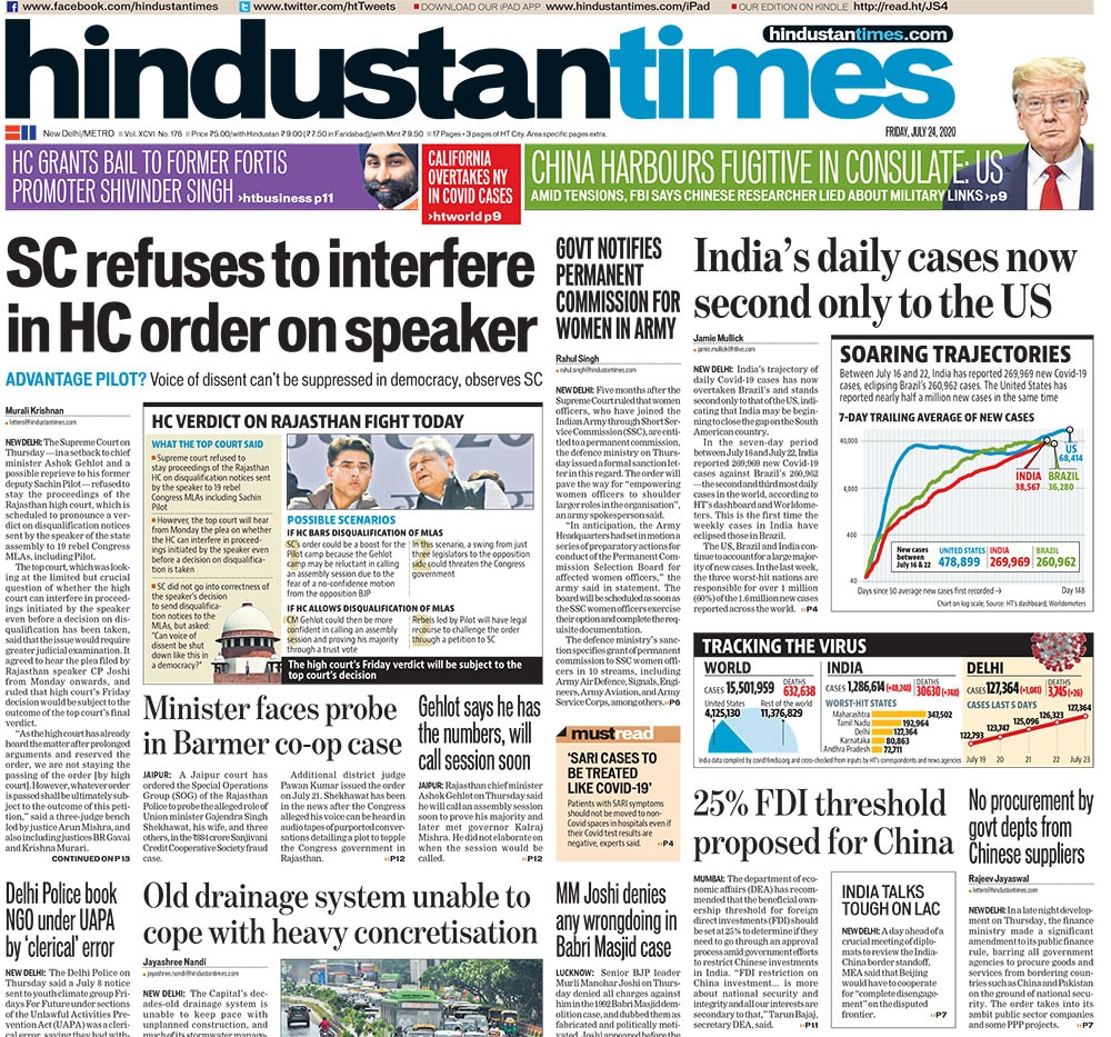 Newspaper Headlines: Top Court Refuses To Stay Rajasthan High Court Proceedings On Sachin Pilot\'s Plea & Other Top Stories