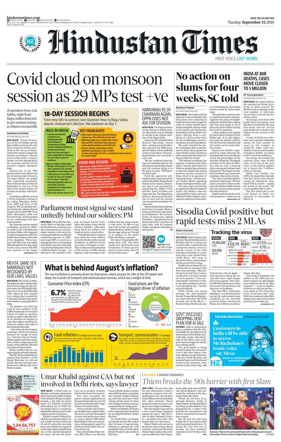 Newspaper Headlines: 25 MPs Test Positive For Coronavirus As Parliament Session Begins & Other Top Stories