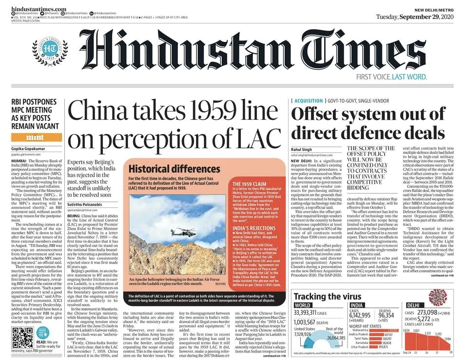 Newspaper Headlines: China Takes 1959 Line On Perception Of LAC & Other Top Stories