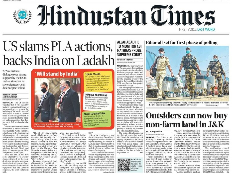 Newspaper Headlines: US signs key defence pact with India, calls out China And Other Top Stories