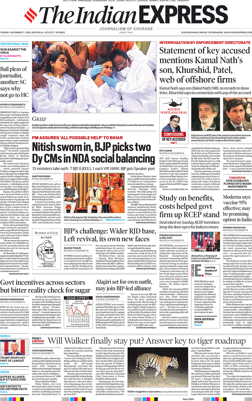 Newspaper Headlines: Moderna Says Vaccine 95% Effective And Other Top Stories