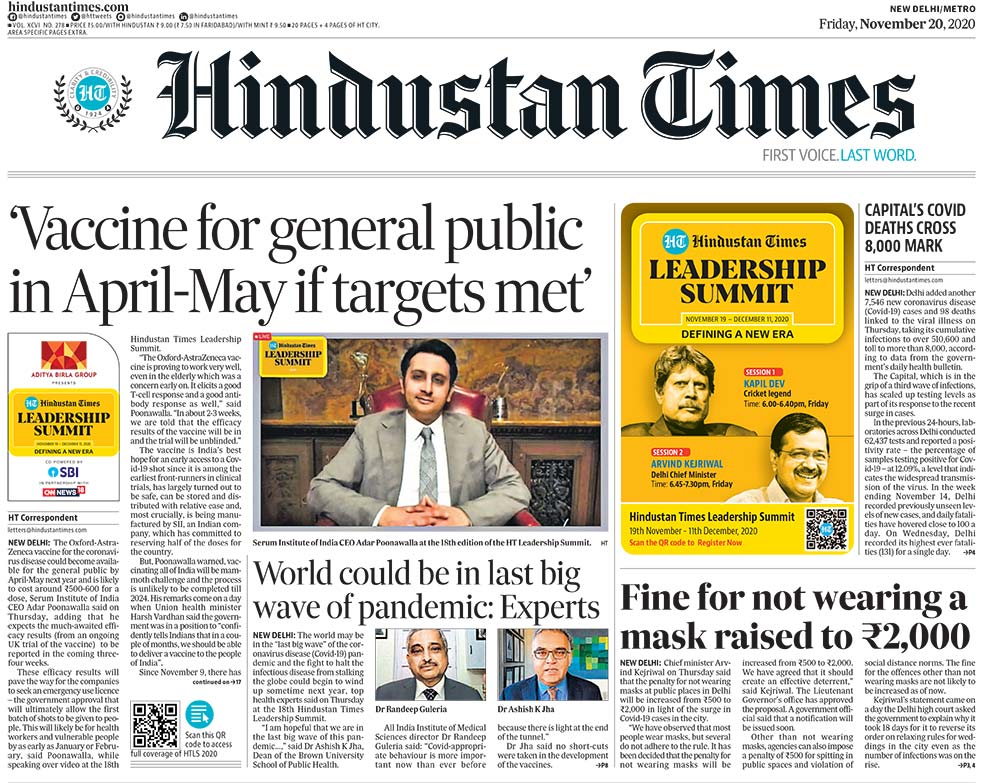 Newspaper Headlines: India Could Get Oxford Covid Vaccine By April 2021, Says Serum Institute Chief & Other Top Stories