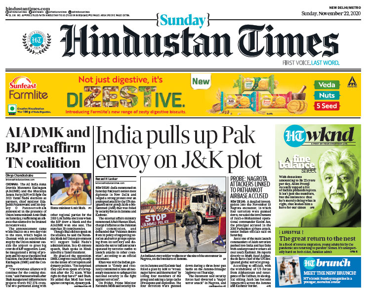 Hindustan Times: India Pulls Up Pakistan Envoy Over Jammu And Kashmir Terror Plot And Other Stories