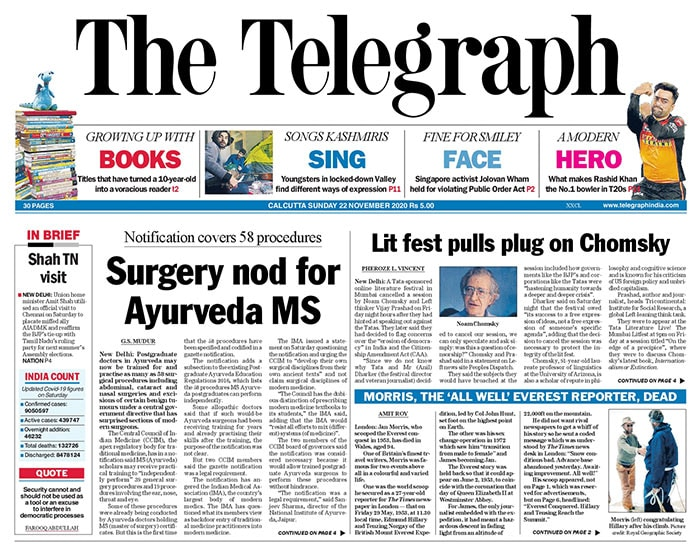 The Telegraph: Surgery Nod For Ayurveda Posgraduate Doctors And Other Stories