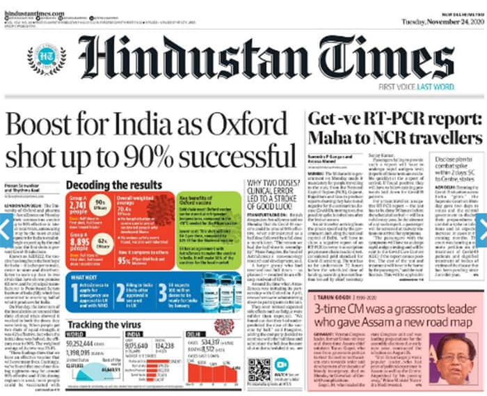 Newspaper Headlines: Oxford Vaccine \'Highly Effective\' And Other Top Stories