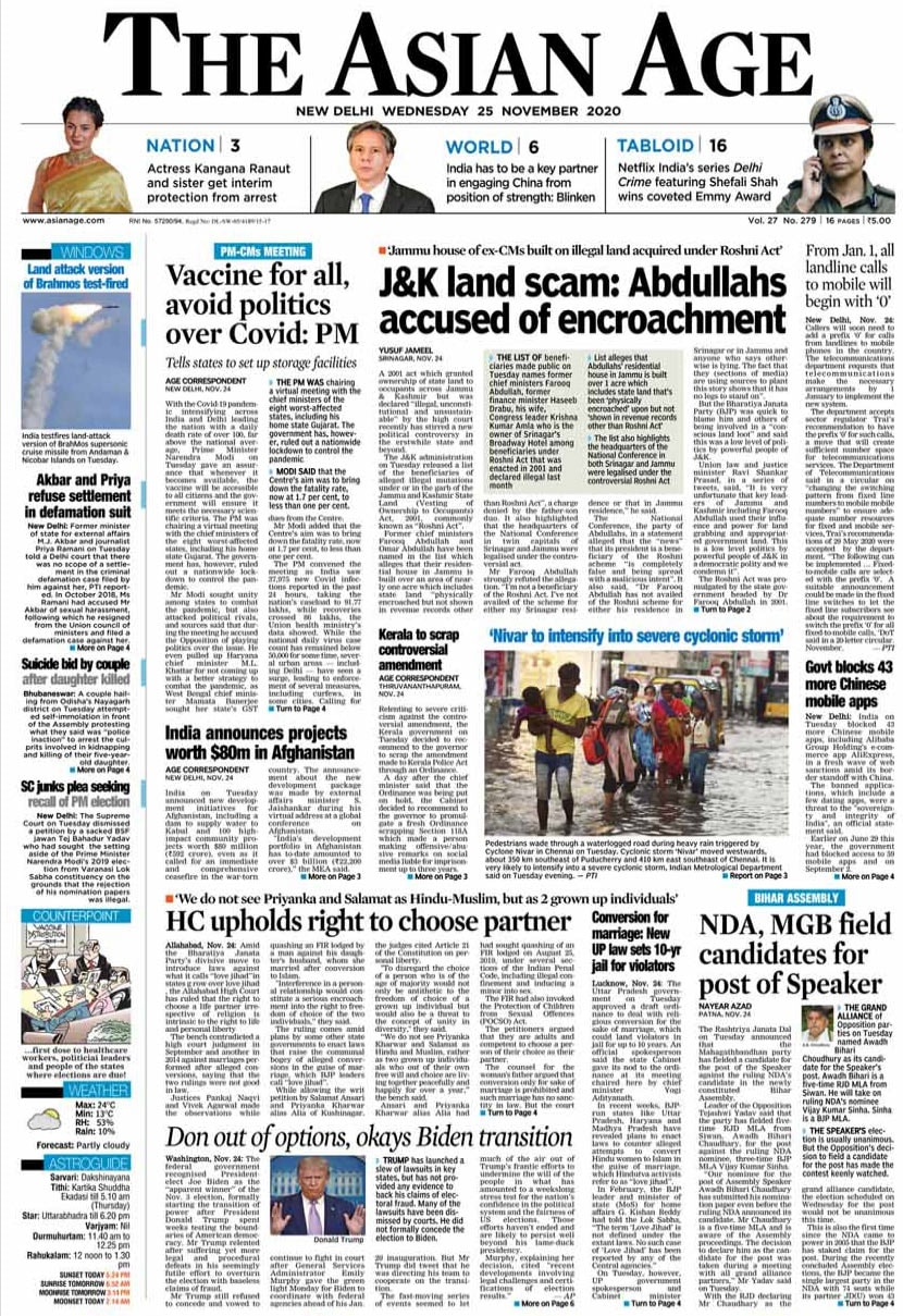 Newspaper Headlines: Prime Minister Narendra Modi Asks States To Prepare Plan For COVID-19 Vaccine And Other Top Stories