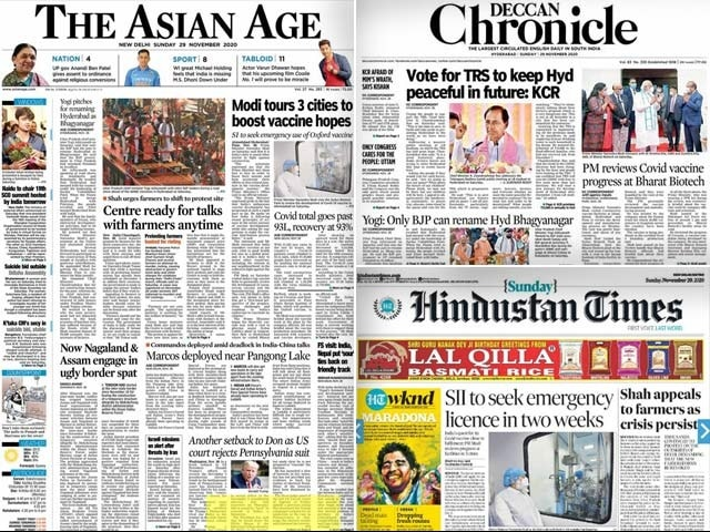Photo : Newspaper Headlines: PM's 3-City Vaccine Tour, Farmers' Protest And Other Top Stories