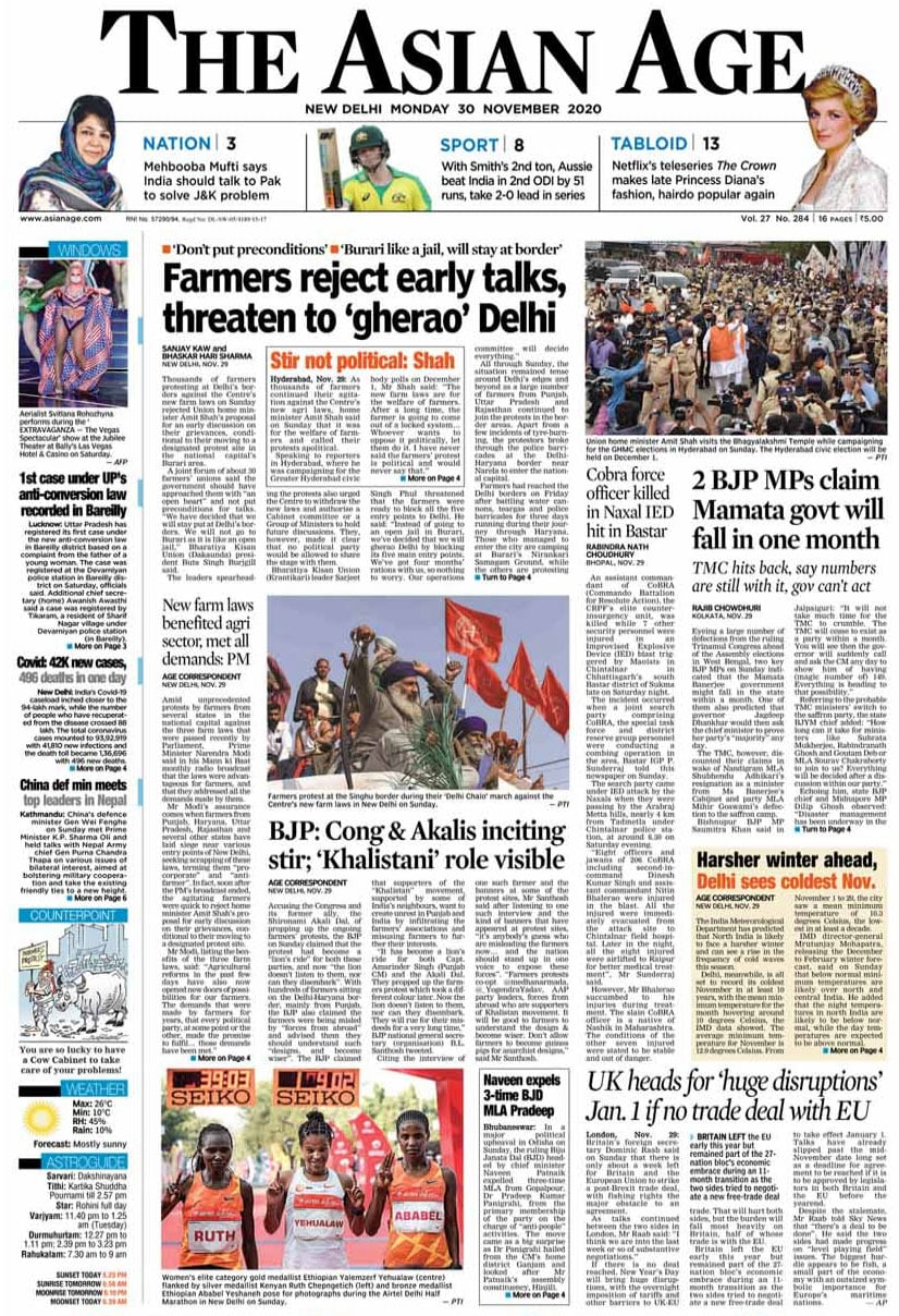 Newspaper Headlines: Farmers Decline Early Talks Offer, PM\'s Praise For New Farm Laws And Other Top Stories