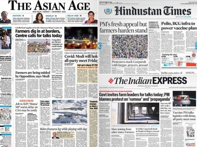 Photo : Newspaper Headlines: Centre Invites Farm Leaders For Talks Today, PM Modi's Fresh Appeal To Farmers