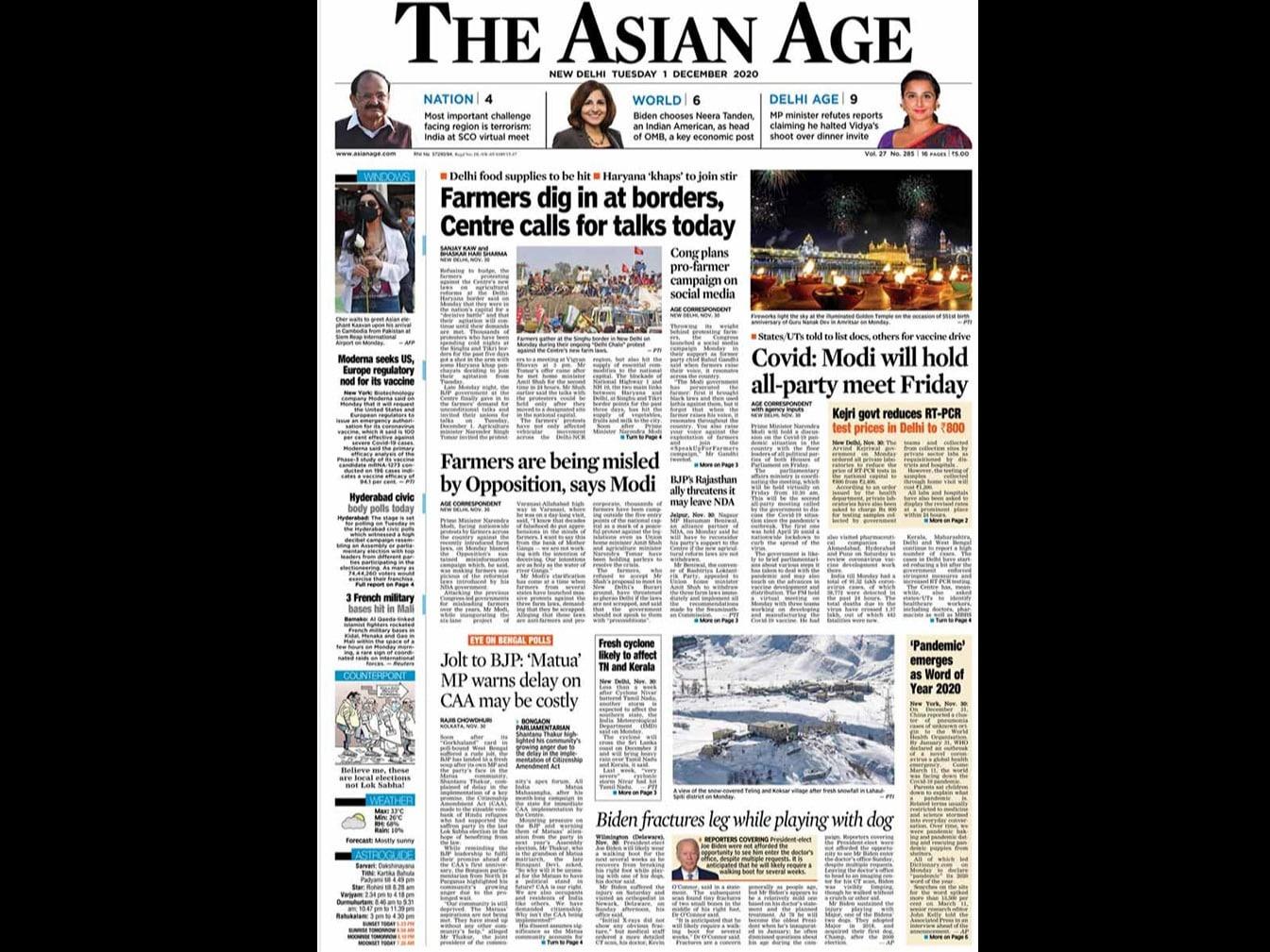 Newspaper Headlines: Centre Invites Farm Leaders For Talks Today, PM Modi\'s Fresh Appeal To Farmers