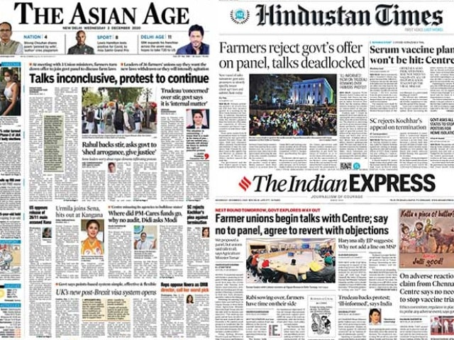 Photo : Newspaper Headlines: Centre-Farmers Talks Deadlocked, India Reacts Sharply To Justin Trudeau's Remarks On Farmers Protest