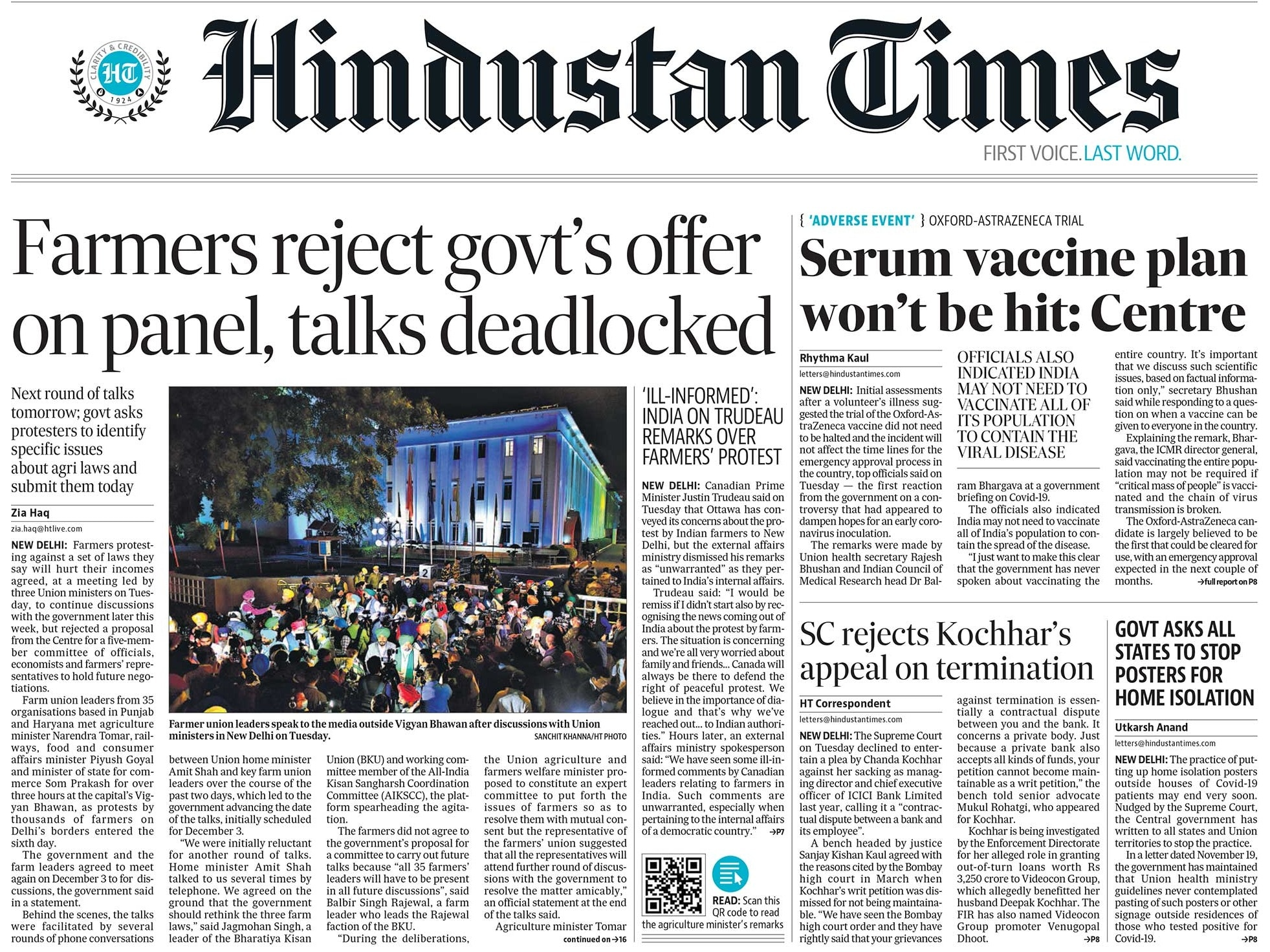 Newspaper Headlines: Centre-Farmers Talks Deadlocked, India Reacts Sharply To Justin Trudeau\'s Remarks On Farmers Protest