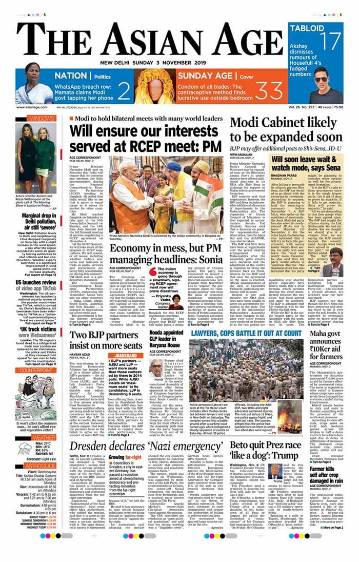 PM Modi Attends RCEP Free Trade Meet In Bangkok, New Maps Of J&K, Ladakh On Front Pages Today