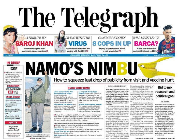 PM Narendra Modi\'s Visit To Ladakh Dominate Headlines On Saturday