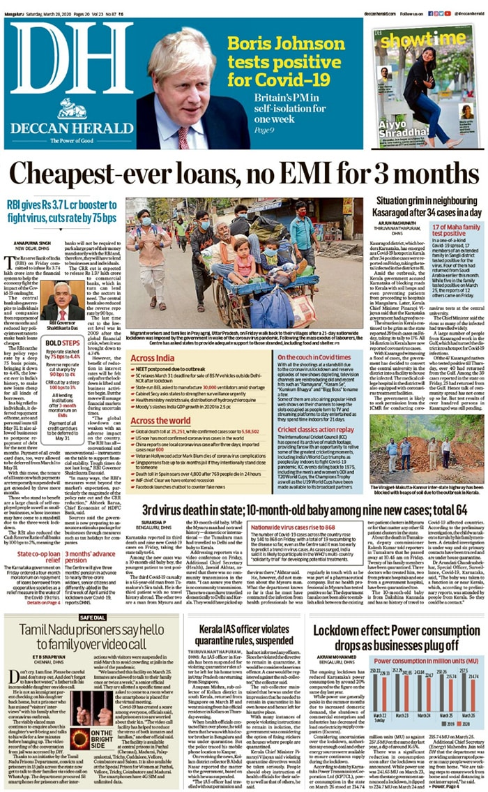 RBI Cuts Rates, Allows 3-Month Pause On EMIs To Offset Coronavirus Impact, Other Top Stories