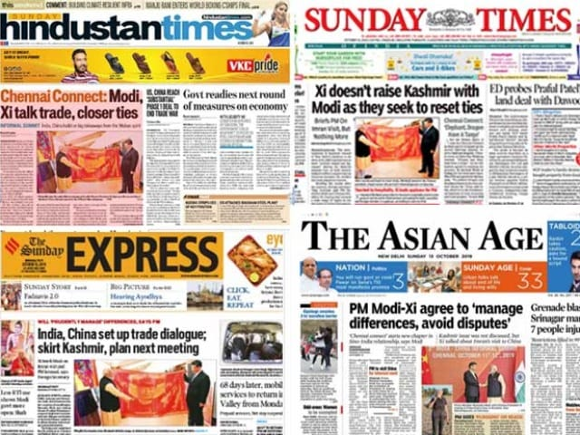 Photo : Restoration Of Postpaid Mobile Phones In Kashmir And PM Modi-Xi Meet Dominate Today's Newspapers