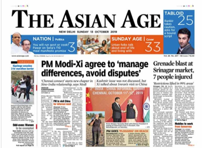 Restoration Of Postpaid Mobile Phones In Kashmir And PM Modi-Xi Meet Dominate Today\'s Newspapers