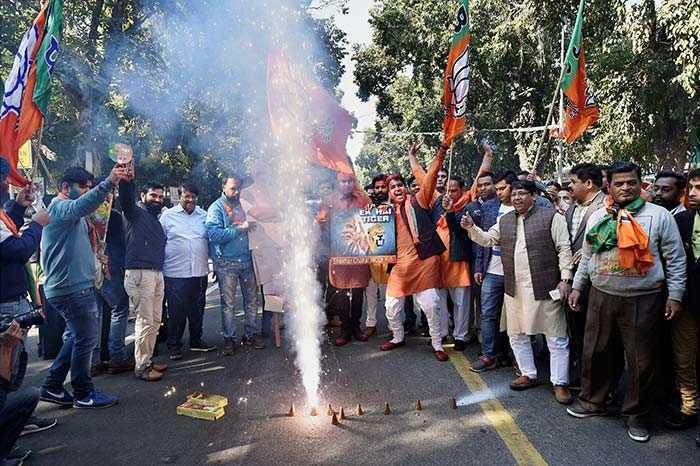 Pics: As Leads Suggest Win For BJP In Gujarat, Himachal, Partymen Celebrate