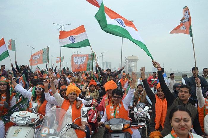 BJP\'s Mega Bike Rally Ahead Of Lok Sabha Polls: In Pictures