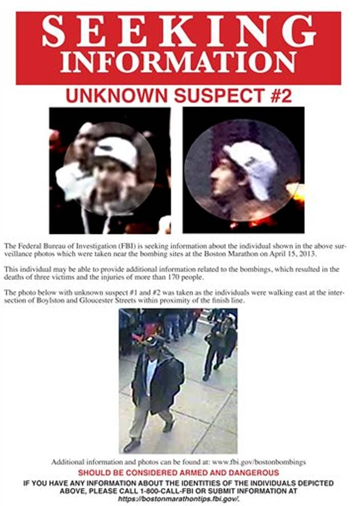 Boston marathon bombs : FBI releases pictures of  suspects