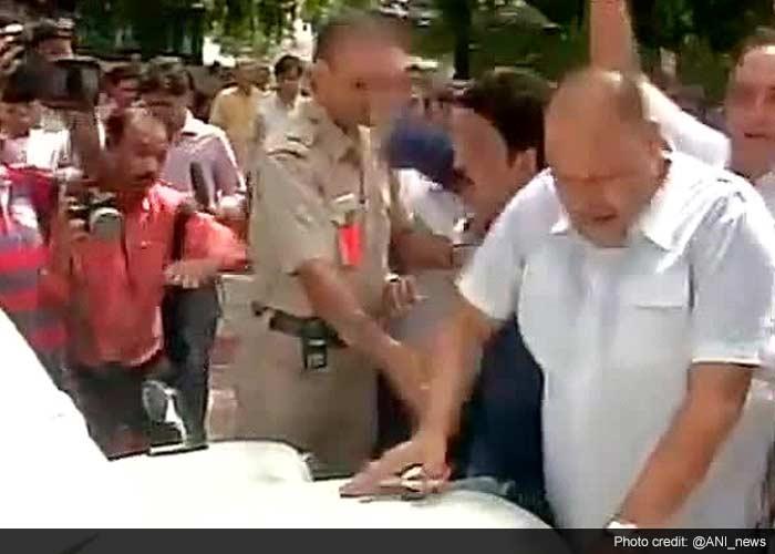 Protests Outside Railways Minister Sadananda Gowda Home